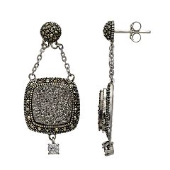 4ee3a6580 Lavish by TJM Sterling Silver Druzy & Marcasite Drop Earrings