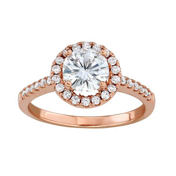 Charles Colvard 14k Rose Gold 1 1 3 Carat T W Lab Created Moissanite Halo Engagement Ring