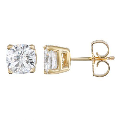 1 1//5 ct Cushion-Cut Created Emerald Stud Earrings in 14K Gold