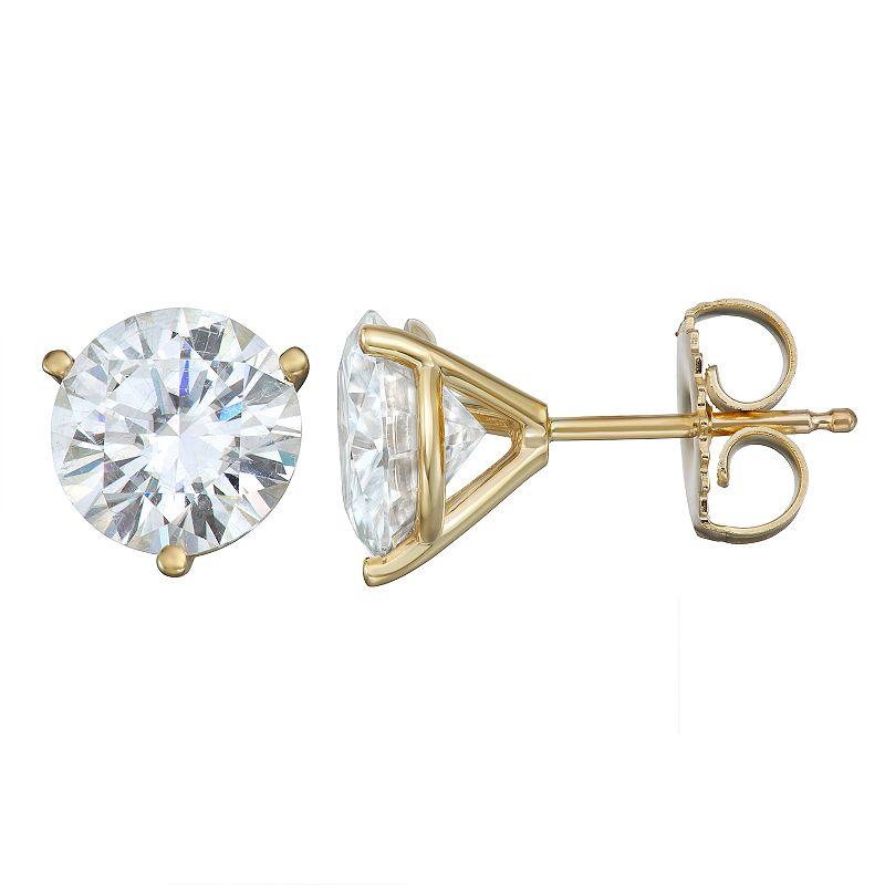 Charles & Colvard 14k Gold 3 Carat T.W. Lab-Created Moissanite Martini Stud Earrings, Women's, White
