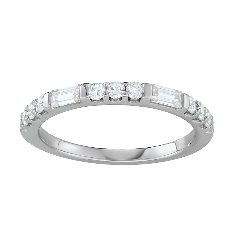 Charles & Colvard 14k White Gold 1/2 Carat T.W. Lab-Created Moissanite Round & Baguette Stackable Ring, Women's, Size: 9