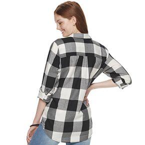 Juniors' SO® Button Down Flannel Shirt