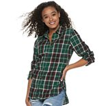 Juniors' SO® Button Down Flannel Shirt