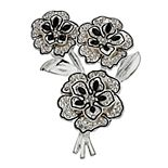 Women's Napier Triple Flower Silver and Black Pin