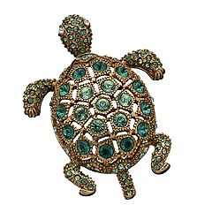 Women's Napier Gold and Green Stone Turtle Pin