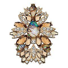 Women's Napier Gold Stone Cluster Pin