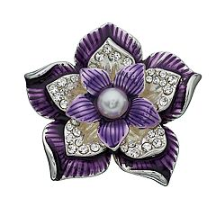 Women's Napier Silver and Purple Flower Pin
