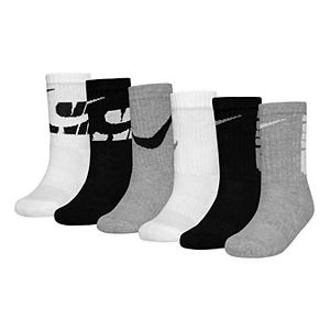 Boys Nike 6-Pack Dri-FIT Performance Cushioned Crew Socks