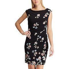 Petite Chaps Floral Boatneck Sheath Dress