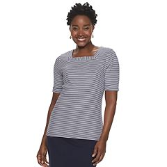 Women's Croft & Barrow® Elbow-Sleeve Squareneck Tee