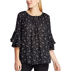 Women's Chaps 3/4 Sleeve Black Lilac Blouse
