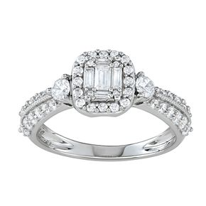Simply Vera Vera Wang 14k White Gold 3/4 Carat T.W. Diamond Cushion Halo Engagement Ring