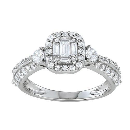 Simply Vera Vera Wang 14k White Gold 3/4 Carat T.W. Diamond Cushion Halo Engagement Ring