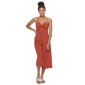 Juniors' Lily Rose Tie-Front Molded Cup Jumpsuit
