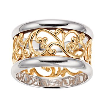 b37426d1eea62 Two-Tone over Sterling Silver Filigree Band Ring