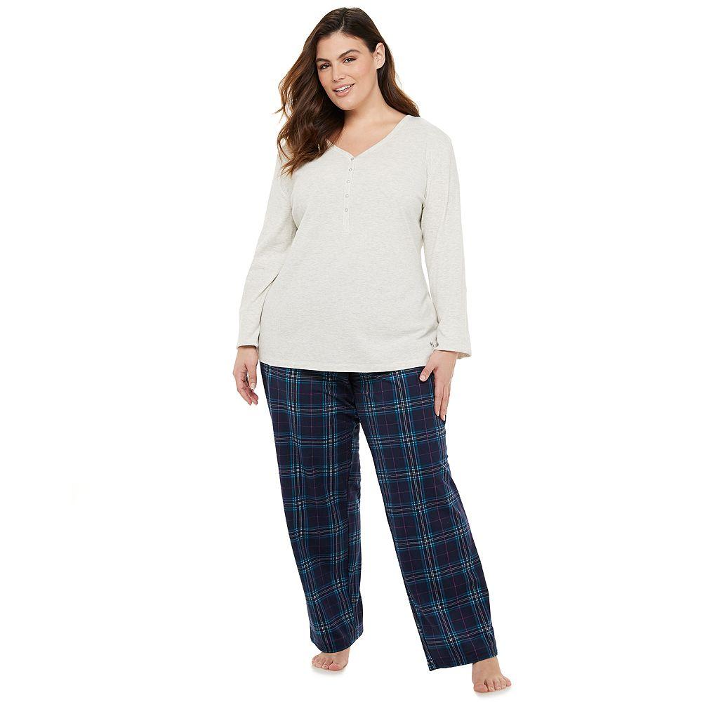 Plus Size Gloria Vanderbilt Microsuede 2-Piece Pajama Set