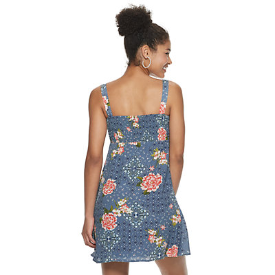 Juniors' Lily Rose Button-Front Molded Cup Dress