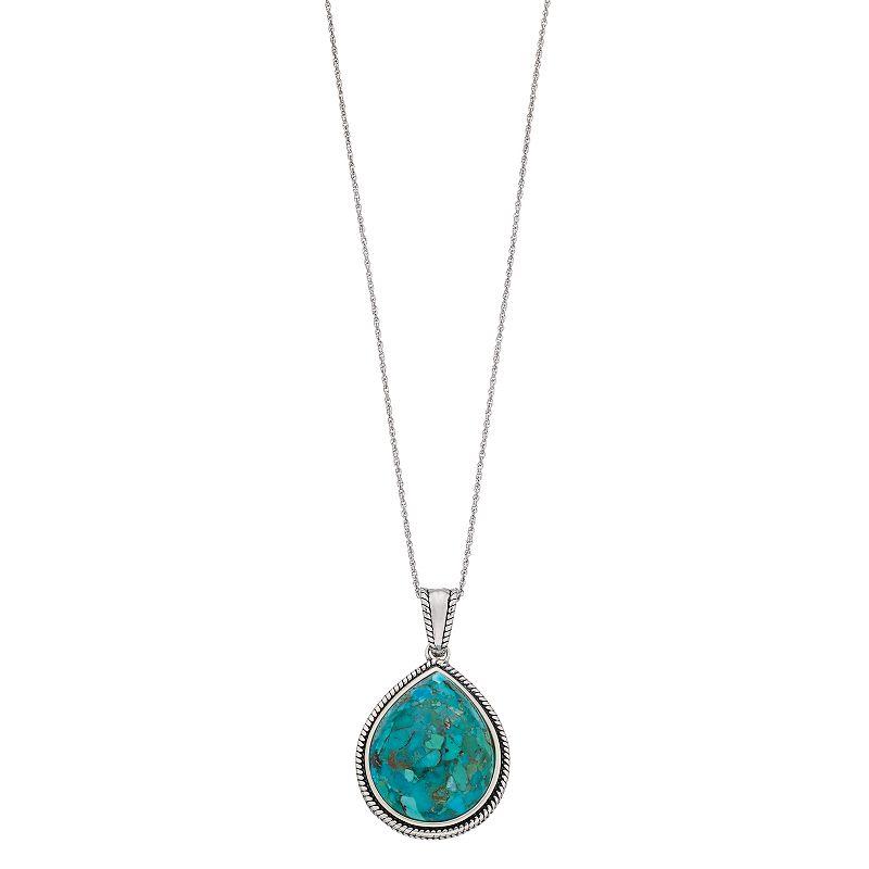 "Sterling Silver Enhanced Turquoise Teardrop Pendant Necklace, Women's, Size: 18"", Blue"