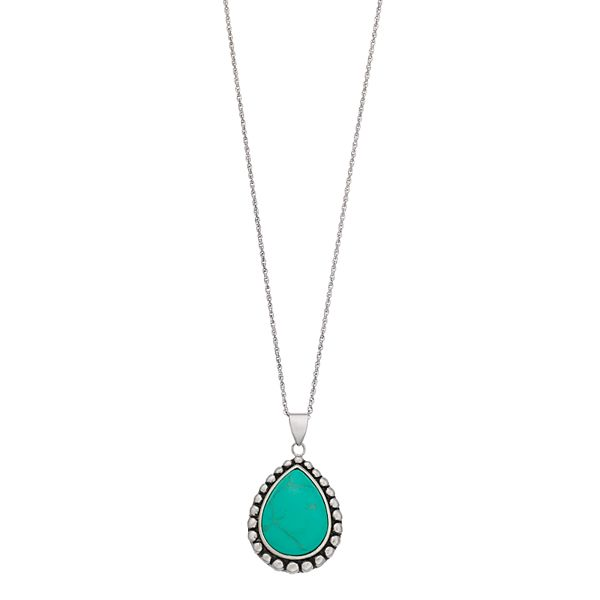 Sterling Silver Simulated Turquoise Teardrop Pendant Necklace