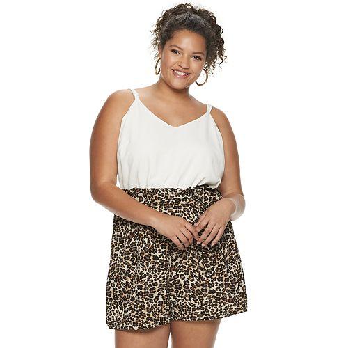 Juniors' Lily Rose Plus Cami Top/Paper Bag Waist Romper