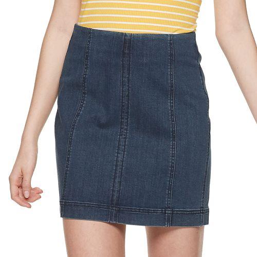 Juniors' Mudd® Seamed Bodycon Denim Skirt