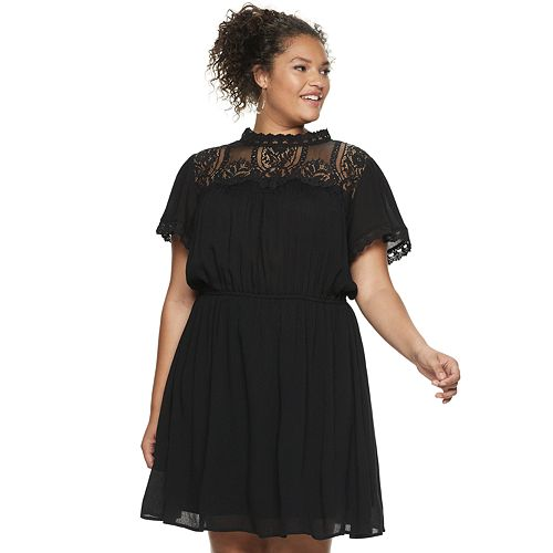 brand new official price top-rated official Plus Size Juniors' American Rag Illusion Lace Dress