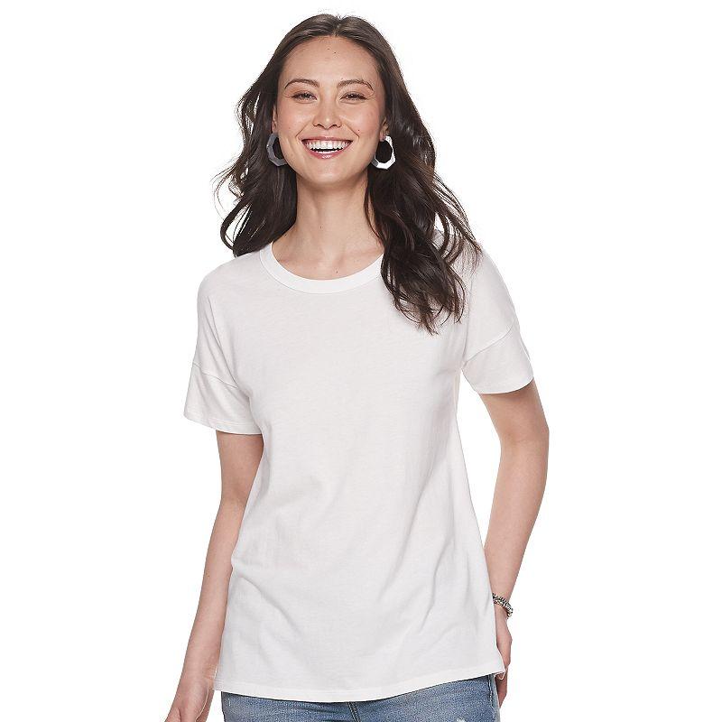 Women's Sonoma Goods For Life Crewneck Relaxed Tee, Size: XXL, White