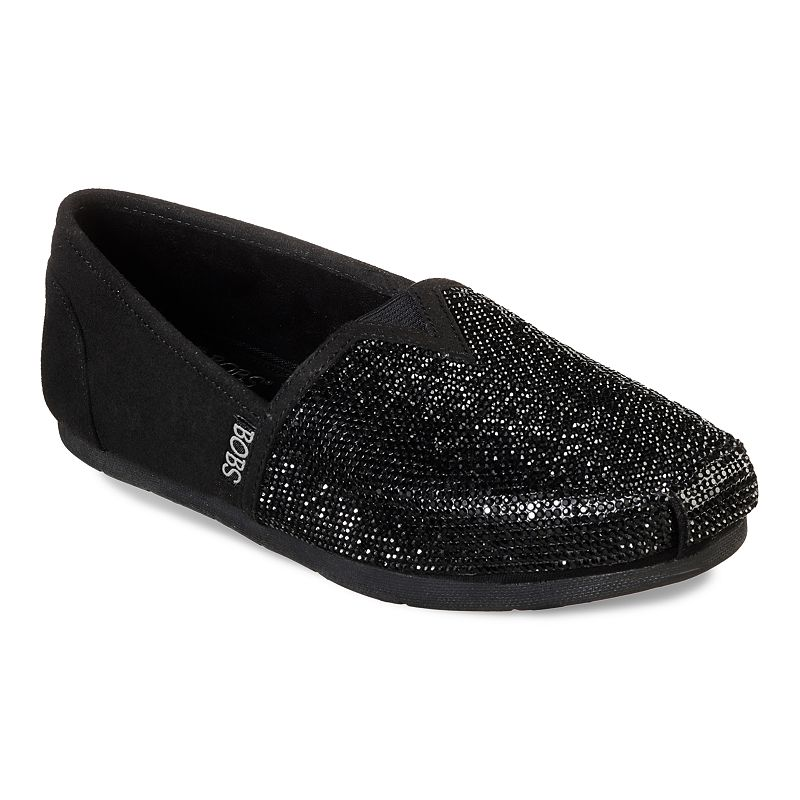 Fulfill some wishes for sparkling style and comfort with these Skechers BOBS Luxe Women\'s Flats. Bobs helps make a difference for animals and kids. Fulfill some wishes for sparkling style and comfort with these Skechers BOBS Luxe Women\'s Flats. Bobs helps make a difference for animals and kids. SHOE FEATURES Front panel with rhinestone gem design Top elastic fabric panel for easy slip on fit Memory Foam cushioned comfort insole SHOE CONSTRUCTION Faux suede upper Fabric lining Rubber outsole SHOE DETAILS Round toe Slip-on Foam footbed Spot clean Size: 11. Color: Oxford. Gender: female. Age Group: adult.