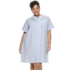 Plus Size Miss Elaine Essentials Short Seersucker Snap Robe
