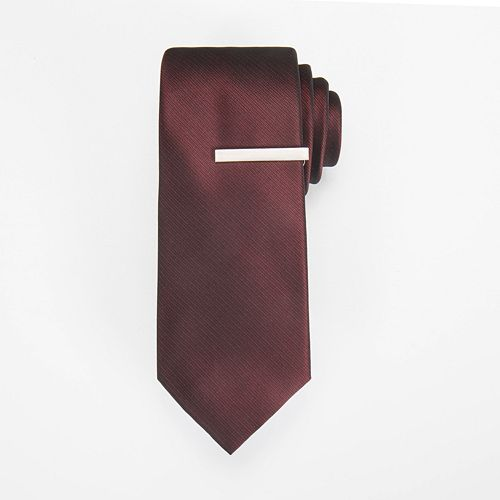 Men's Apt. 9® Solid Skinny Tie & Tie Bar