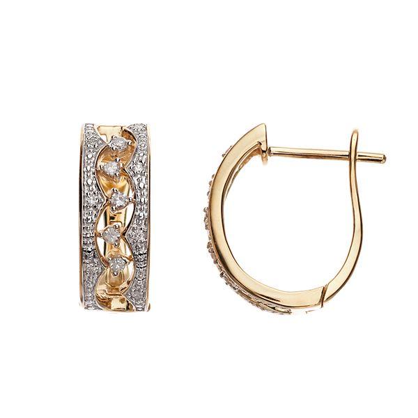 10k Gold 1/8 Carat T.W. Diamond U Hoop Earrings