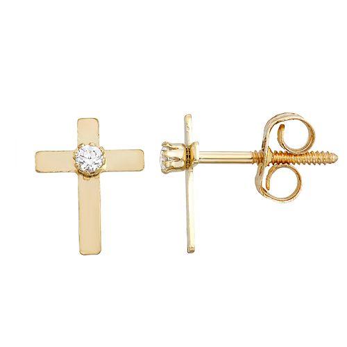 fea69d67fe0 Charming Girl 14k Diamond Accent Cross Stud Earrings