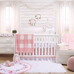 The Peanut Shell Farmhouse Pink Crib Skirt