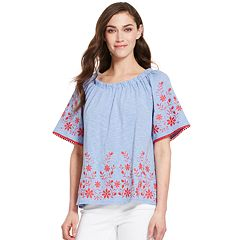 Women's IZOD Embroidered Peasant Top