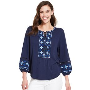 Women's IZOD 3/4-Sleeve Embroidered Peasant Top