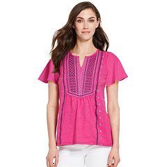 Women's IZOD Embroidered Flutter Sleeve Top