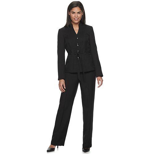 Le Suit Womens Petite Pinstripe 1 Btn Notch Collar Pant Suit