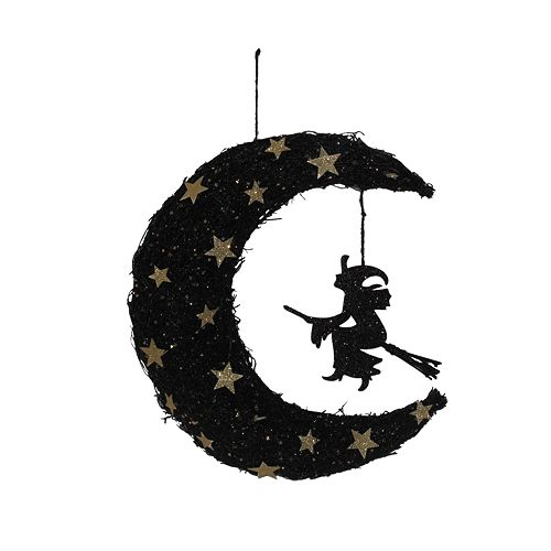 Halloween Glitter Vine Moon and Witch LED Wall Decor
