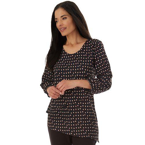 Women's Apt. 9® Bubble Crepe Top 3/4 Sleeve Asymmetric Layered V Neck