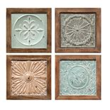 "Stratton Home Decor ""Set of 4 Boho Tiles"" Wall Decor"