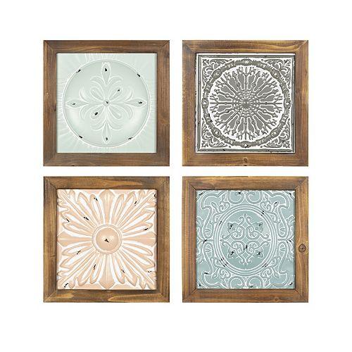 "Stratton Home Decor ""Set of 4 Boho Tiles"" Wall Decor"