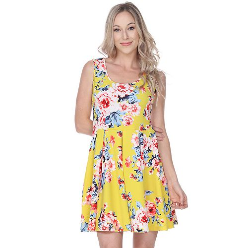 Women's White Mark Floral Fit & Flare Dress