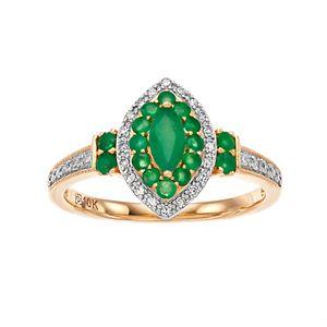 10k Gold Gemstone & 1/8 ct. T.W. Diamond Marquise Halo Ring
