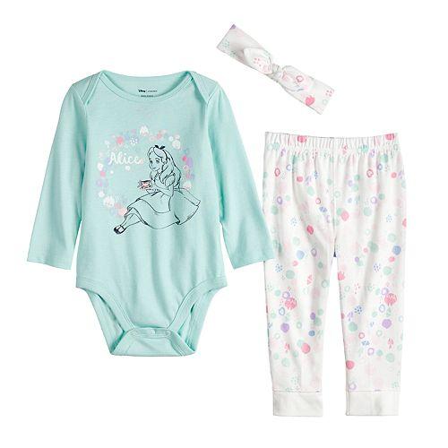 Disney's Alice in Wonderland Baby Girl Bodysuit, Pants & Hat Set by Jumping Beans®