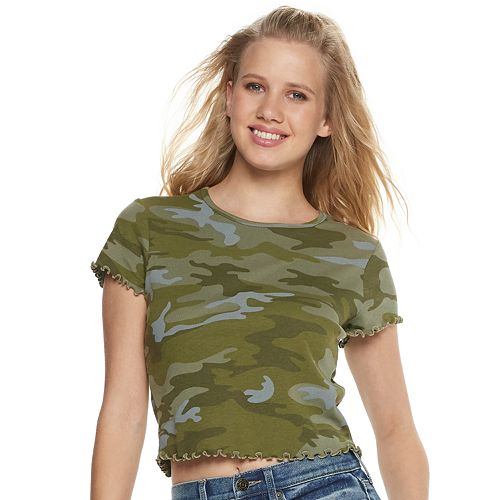 Juniors' Green Camo Baby Tee