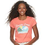 Juniors' Ruffled Sleeve Santa Cruz California Baby Tee