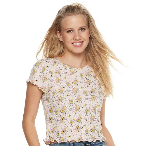 Juniors' Allover Floral Print Baby Tee