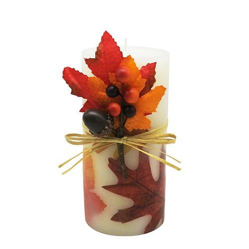 "Celebrate Fall Together Leaf Pillar 3X6 Fragrance ""Falling Leaves"" Candle"