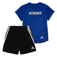 Baby Boy adidas Top & Striped Shorts Set