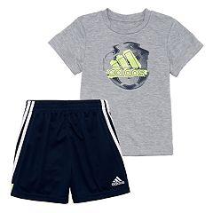 Baby Boy adidas Soccer Graphic Tee & Striped Shorts Set